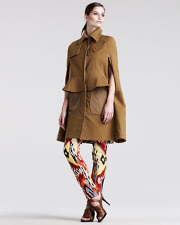 Altuzarra Graze Stretch-Twill Cape, Bushbuck Ikat-Print Tunic Dress & Ikat-Print Pants