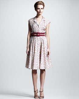 Dolce & Gabbana Polka-Dot Shirtdress & Striped Belt