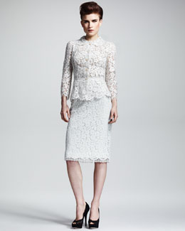 Dolce & Gabbana Lace Button-Front Jacket & Pencil Skirt