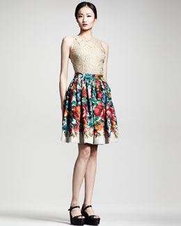Dolce & Gabbana Sleeveless Lace Top & Floral-Print Linen Skirt