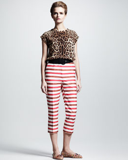 Dolce & Gabbana Leopard-Print Silk Top, Striped Cropped Pants & Woven Rayon Belt