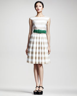 Dolce & Gabbana Full-Skirted Striped Dress & Woven Belt