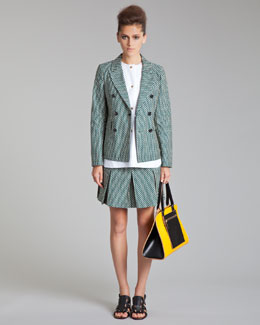 Marni Fitted Double-Breasted Jacket, Sleeveless Poplin Top & Pleated Schoolgirl Miniskirt