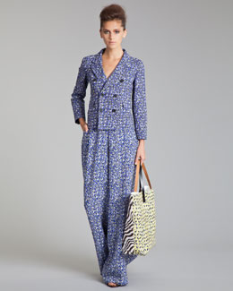 Marni Linen-Blend Double-Breasted Jacket & Wide-Leg Pants