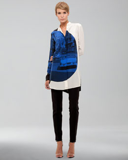 Akris punto Focus-Print Silk Tunic & Full-Length Pants