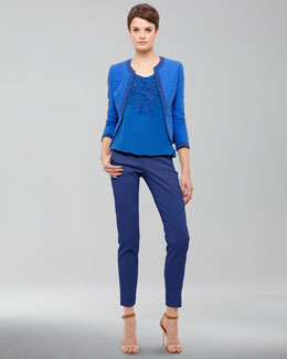 Akris punto Three-Quarter-Sleeve Cotton Jacket, Embellished Silk Blouse & Full-Length Pants