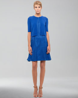 Akris punto Cropped Wool Cardigan & Sleeveless Lace Dress