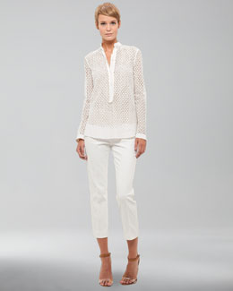 Akris punto Long-Sleeve Lace Blouse & Cropped Pants