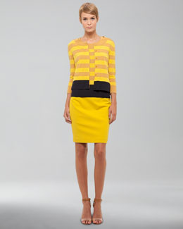 Akris punto Striped Wool Cardigan, Striped Wool Sweater & Jersey Pencil Skirt