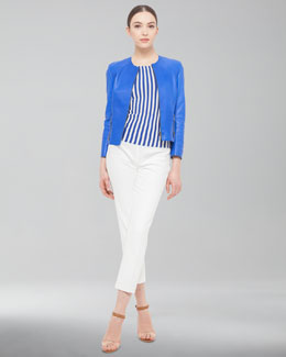 Akris punto Lambskin Jacket, Vertical Striped Cap-Sleeve Top & Cropped Pants
