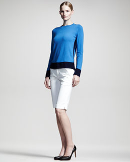 Jil Sander Colorblock Cashmere Sweater & Nicolai Panama Stretch Shorts