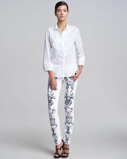 Roberto Cavalli Lace Applique Shirt & Printed Jeans
