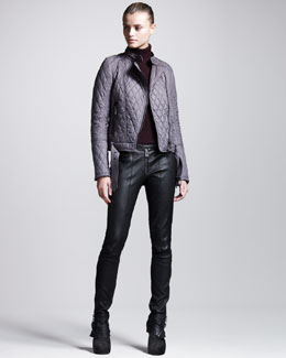 Belstaff Longston Quilted Motorcycle Jacket, Ribbed Merino Sweater & Ledbury Leather Roadster Pants