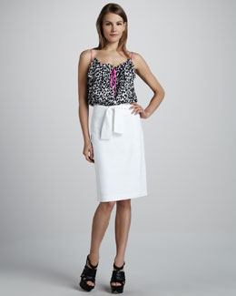 Milly Cheetah-Print Silk Top & Tie-Waist Shantung Skirt