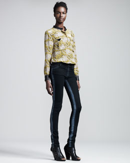 Kelly Wearstler Diego Cheetah-Print Silk Top & Airbrushed Skinny Jeans