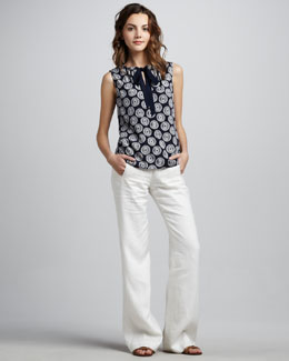 Tory Burch Tanya Tie-Neck Top & Drew Linen-Blend Pants