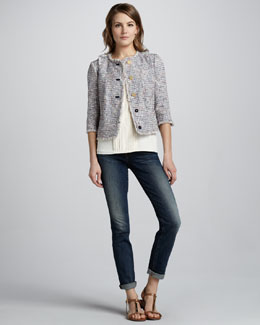 Tory Burch Emma Tweed Jacket, April Pintuck-Panel Top & Alexa Cropped Slim Jeans
