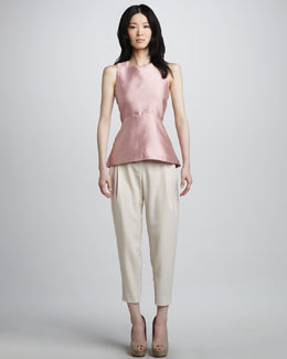 Halston Heritage Sleeveless Peplum Top & Pleated Cropped Trousers