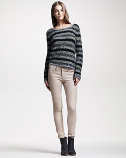 rag & bone/JEAN Palermo Striped Sweater & Skinny Nude Leather Pants