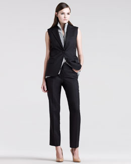 Maison Martin Margiela Sleeveless Tailored Suit & Metallic-Rib Zip Vest