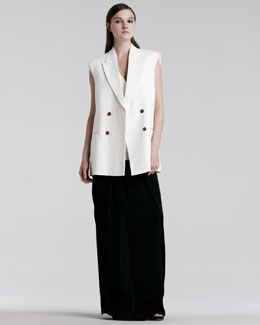 Maison Martin Margiela Sleeveless Double-Breasted Jacket, Twist-Front Knit Top & Pleated Maxi Skirt