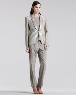 Maison Martin Margiela Sequined Shawl-Collar Jacket, Back-Zip Tee & Easy-Fit Ankle Pants