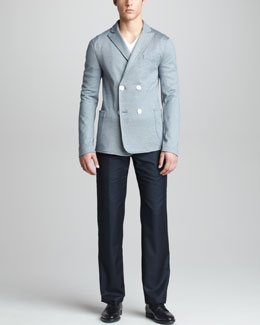 Giorgio Armani Double-Breasted Jersey Jacket, Trapunto-Trim Tee & Modern-Fit Wool-Cashmere Trousers