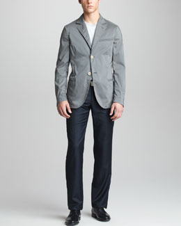 Giorgio Armani Deconstructed Jacket, Digital-Print Sweater & Modern-Fit Wool-Cashmere Trousers