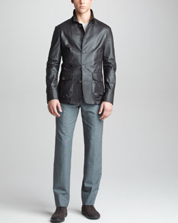 Giorgio Armani Perforated Leather Jacket, Crewneck Wool Sweater & Textured Trousers