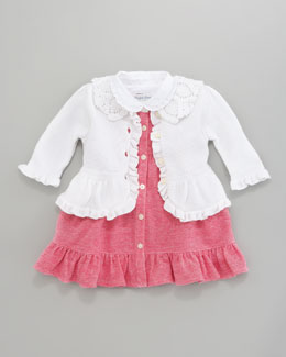 Ralph Lauren Childrenswear Preppy Cardigan & Oxford Mesh Dress