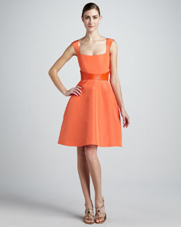 Monique Lhuillier Sleeveless Fit-and-Flare Dress & Smooth Leather Belt