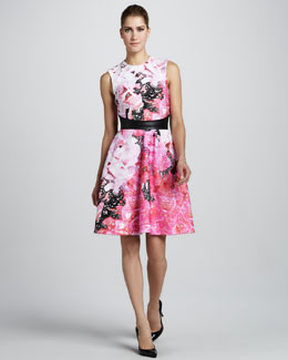 Monique Lhuillier Floral-Print Sleeveless Dress & Smooth Leather Belt