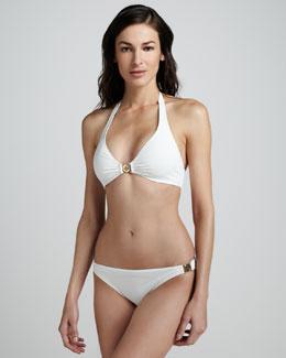 Tory Burch Logo-Hardware Halter Bikini, Ivory