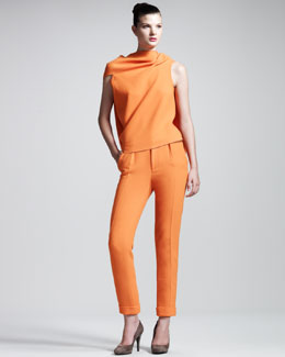 Roland Mouret Eugene Stretch-Cotton Top & Carillon Double-Face Crepe Trousers