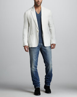 Dolce & Gabbana Linen One-Button Blazer, Raw-Edge V-Neck Sweater & Distressed Medium Wash Jeans