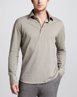 Loro Piana Long-Sleeve Pique Polo