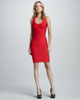 Herve Leger Scallop-Trim Bandage Tank & Skirt
