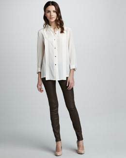 MARC by Marc Jacobs Mariko Loose Silk Blouse & Mirah Leather Leggings