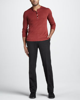 John Varvatos Linen Henley Sweater & Slim Cotton-Linen Pants