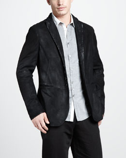 John Varvatos Distressed Suede Jacket & Slim Contrast-Collar Shirt