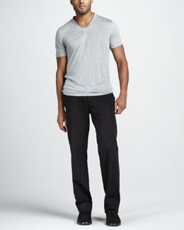 John Varvatos Linen V-Neck Tee & Slim Cotton-Linen Pants