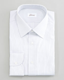 Brioni Striped Dress Shirt & Dot-Print Silk Tie