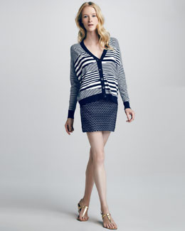 Milly Mirage V-Neck Cardigan & Stella Printed Stretch Miniskirt