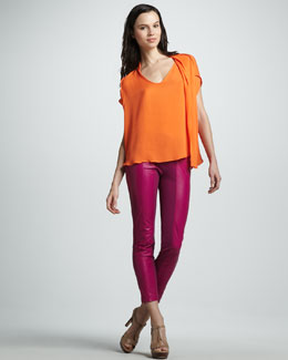 Halston Heritage Flowy Boxy Blouse & Slim Ponte/Leather Pants