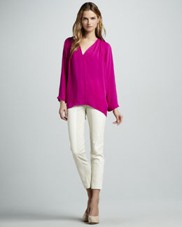Halston Heritage Long-Sleeve Loose Blouse & Ponte/Leather Combo Pants