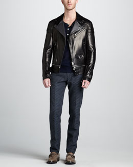 Belstaff Colwyn Leather Motorcycle Jacket, Wollaston Moto Henley & Ikat-Print Slim Trousers