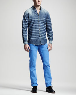 DSquared2 Laser-Stripe Denim Shirt & Garment-Dyed Five-Pocket Pants
