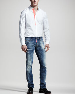 DSquared2 Contrast-Tape Sport Shirt & Distressed Slim Jeans