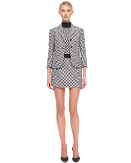 Michael Kors  Jacquard Cardigan Schoolboy Jacket, Merino Optic Check Shell & Optic Check Miniskirt