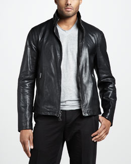 John Varvatos Slim Leather Jacket & Linen V-Neck Tee